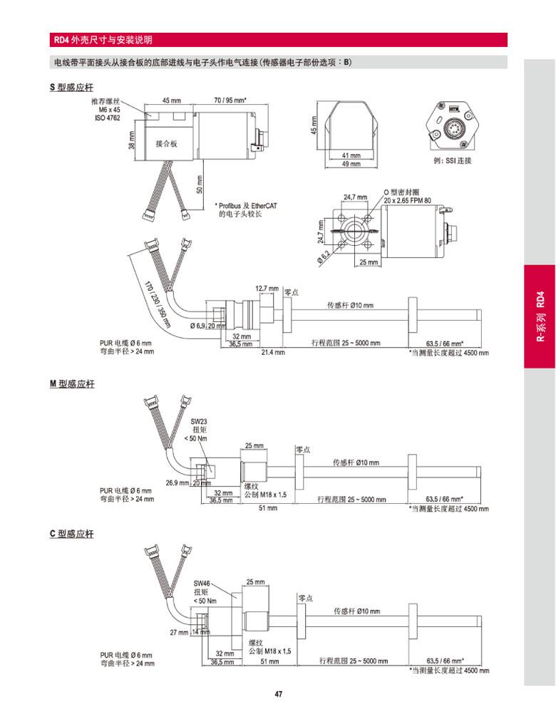 mts位移传感器外壳尺寸