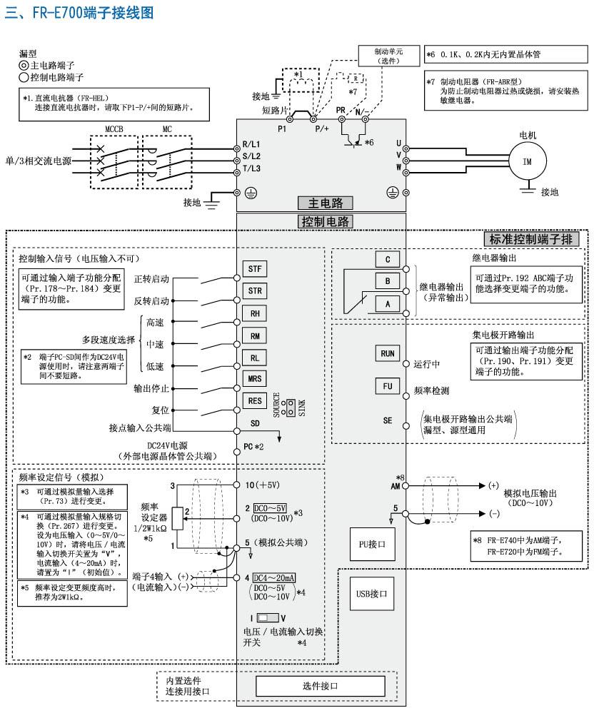 三菱变频器fr-700端子接线图